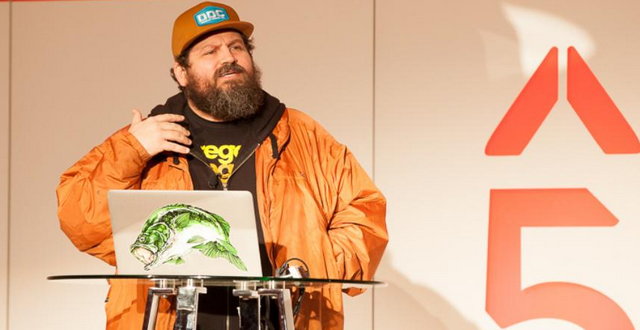 Aaron Draplin speaking at the 2015 High 5 Conference